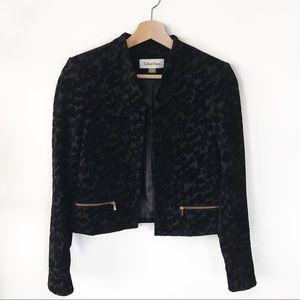 calvin klein • textured black blazer • size 0
